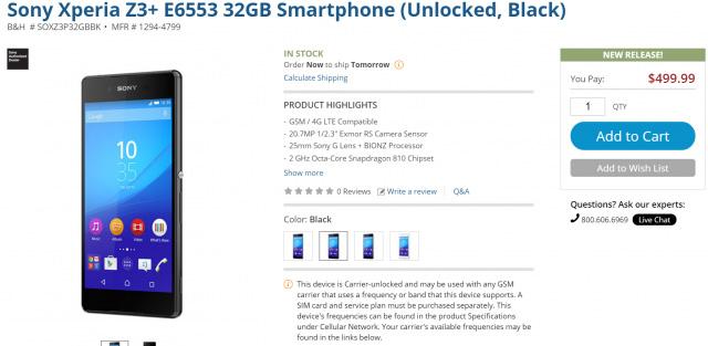 Sony Xperia Z3+ lên kệ tại Mỹ. Ảnh: Sony.