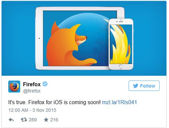 Firefox thông báo trên Twitter chính thức của mình.