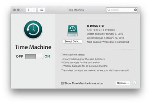 Nên kích hoạt chức năng Time Machine trên OS X để đảm bảo an toàn cho dữ liệu.