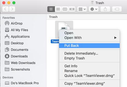 Chỉ cần nhấn chuột phải > chọn Put Back là có thể lấy lại dữ liệu lỡ xoá nhưng vẫn còn nằm trong sọt rác trên Mac OS X.