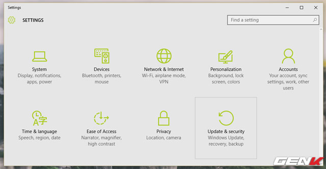 Trong Update and Security, bạn hãy nhấp vào nhóm tùy chọn Recovery.