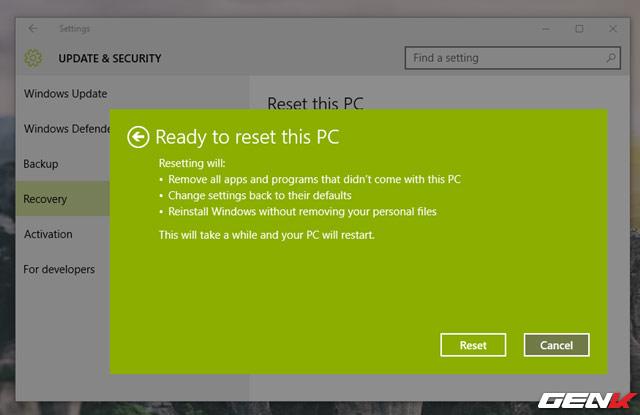 Làm thế nào để khôi phục lại cài đặt Windows 10 về mặc định ban đầu?
