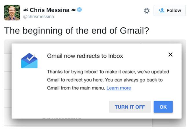 Nhiều tài khoản Gmail của những người có tiếng trong lĩnh vực công nghệ đang bị ép dùng Inbox thay cho giao diện quen thuộc.