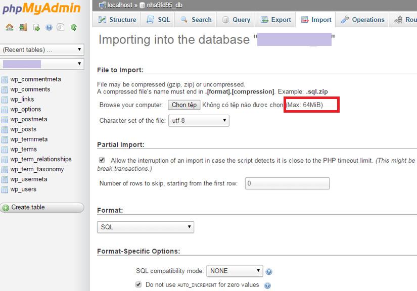 Hướng dẫn tăng giới hạn import CSDL vào phpMyAdmin