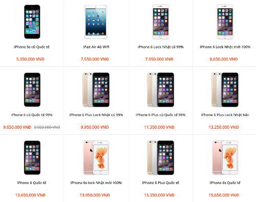 iPhone 6 và 6 Plus khoá mạng đã qua sử dụng được nhiều cửa hàng bán rẻ hơn hẳn hàng mới.