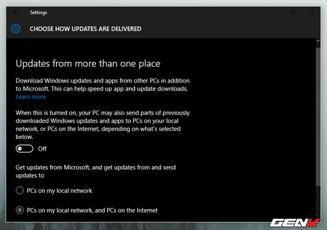 thiết lập Windows Update không khai thác quá sâu lưu lượng băng thông của bạn