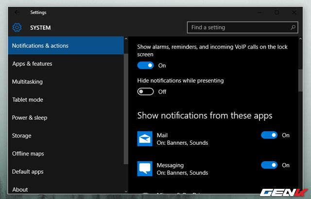 Thay đổi các thông báo hệ thống Window 10