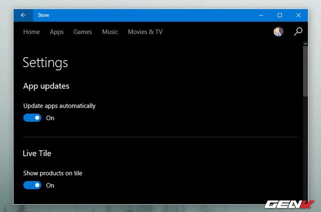 chặn việc tự động cập nhật cho các ứng dụng Universal mặc định bằng cách mở Windows Store