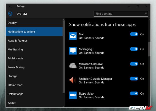 tránh các thông báo phiền nhiễu từ Action Center, bạn hãy truy cập vào Settings > System > Notifications & actions và gạt sang OFF ở các ứng dụng mà mình không muốn nhận thông báo.