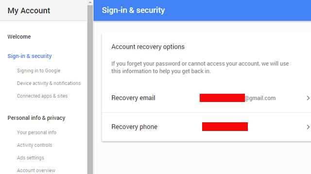 bước thiết lập email và số điện thoại giúp khôi phục lại tài khoản khi cần.