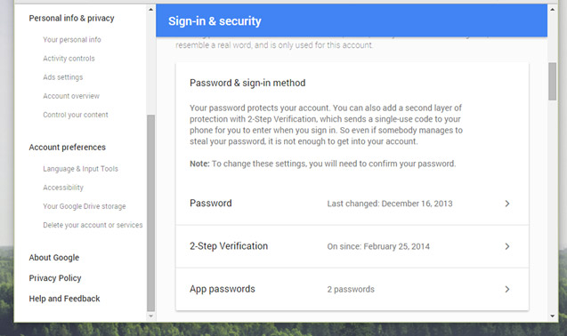 Để thiết lập tính năng xác minh 2 bước, bạn hãy truy cập vào tùy chọn Sign-in & Security trong trang tài khoản Google của mình (My Account) và tìm đến mục 2-Step Verification trong nhóm tùy chọn Password & sign-in method.