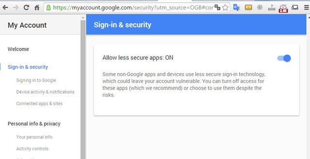 Allow Less Secure Apps và gạt sang OFF để vô hiệu hóa tùy chọn này.