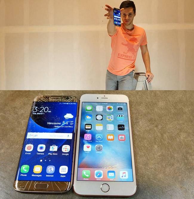 Khi nâng độ cao lên 3m rồi đến 6m thì iPhone 6S Plus chỉ bị trầy xước nhẹ trong khi mặt kính của Galaxy S7 edge đã bị nứt khá nhiều cả ở mặt trước và mặt sau.