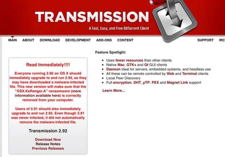Transmission cảnh báo người dùng cần nâng cấp để ngăn chặn KeRanger.