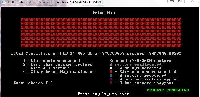 Thông báo sơ đồ ổ đĩa (Drive Map) trên HDD Regenerator cho thấy ổ cứng đã bị hư hoàn toàn và không thể khôi phục.