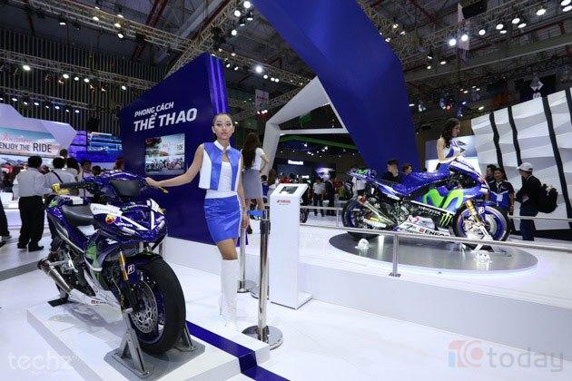 Không gian trưng bày của Yamaha tại hội Triển lãm mô tô - xe máy diễn ra ở TP HCM.