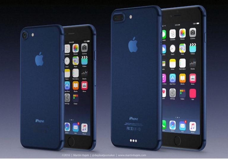 Bộ đôi ý tưởng iPhone 7 và iPhone 7 Plus có màu xanh đậm của nhà thiết kế Martin Hajek.