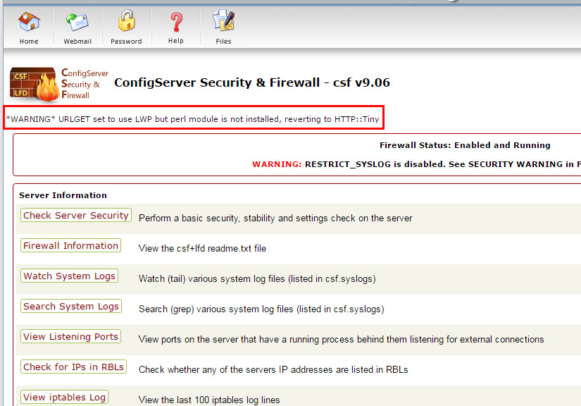"""Cách khắc phục thông báo lỗi """"*WARNING* URLGET set to use LWP but perl module is not installed, reverting to HTTP::Tiny"""" trong ConfigServer Security & Firewall - csf"""
