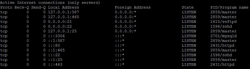 Liệt kê các cổng TCP đang được lắng nghe trên server của bạn