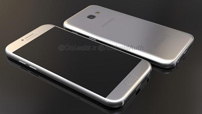 Mẫu thiết kế được đồn đoán của Galaxy A5 2017 rò rỉ từ trang OneLeaks.
