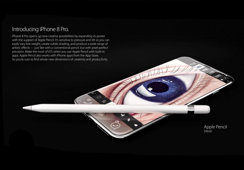 Abovergleich cho hay iPhone 8 có 3 phiên bản kích thước màn hình 4,7 inch, 5,5 inch và 5,8 inch với tên gọi lần lượt là iPhone 8, iPhone 8 Plus và iPhone 8 Pro. Riêng iPhone 8 Pro sẽ hỗ trợ thêm bút Apple Pencil được bán riêng với giá 99 USD.