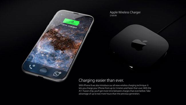 Sản phẩm sẽ được trang bị tính năng sạc không dây cùng công nghệ sạc nhanh. Đế sạc không dây của mẫu iPhone này được bán riêng với giá 169,99 USD.