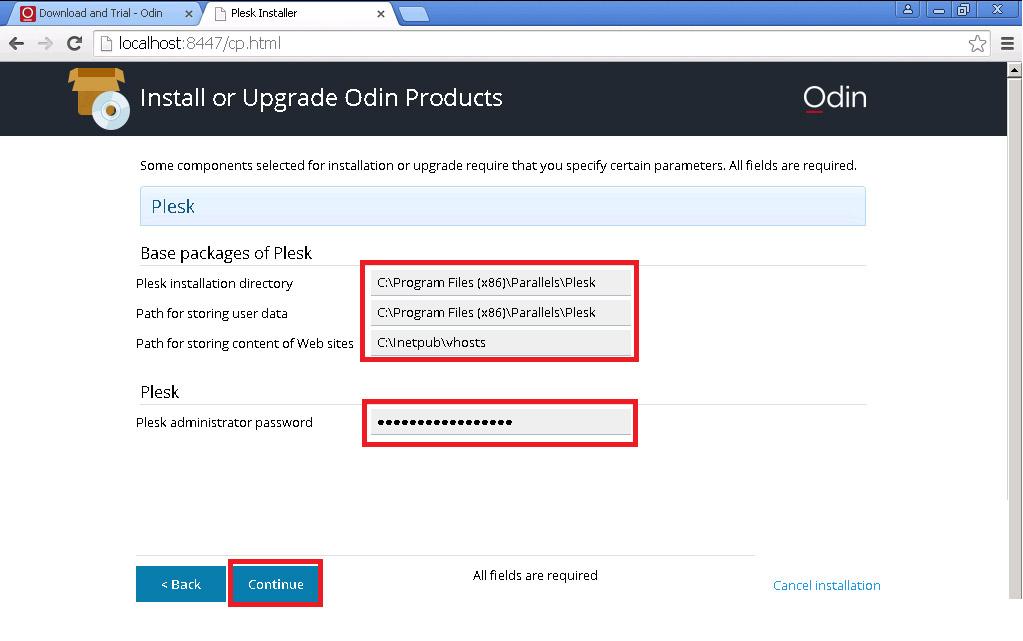 vị trí lưu trữ file cài đặt và vị trí lưu trữ website, nhập password của tài khoản administrator và bấm continue để tiếp tục cài đặt Plesk Panel