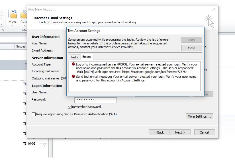 hướng dẫn các bạn cách khắc phục lỗi 78754 hoặc khi bấm nút Test Account Settings Outlook yêu cầu nhập username và mật khẩu