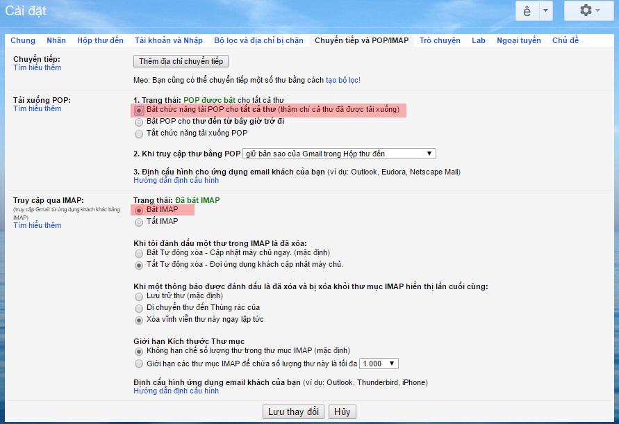 bật POP3 và IMAP setting Gmail
