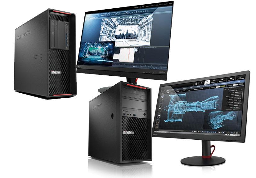 Bộ đôi máy trạm Lenovo ThinkStation.