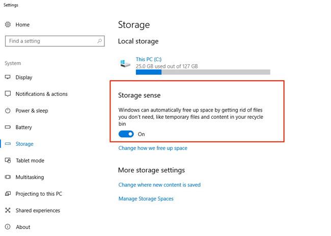Kích hoạt Storage sense trong Windows 10