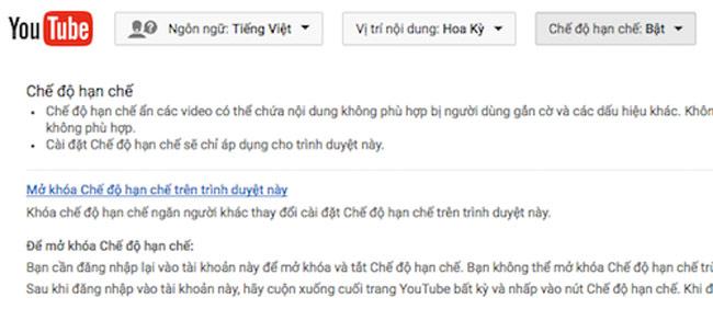 Chế độ hạn chế của YouTube