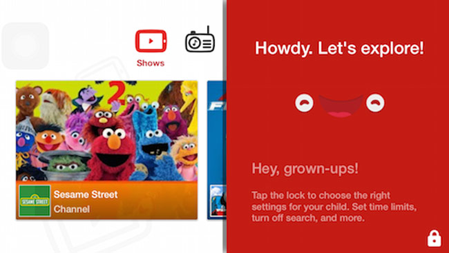 Chế độ YouTube Kids trên smartphone