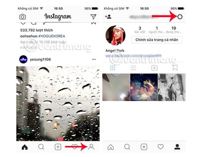 Instagram bảo mật 2 lớp - giao diện, cài đặt