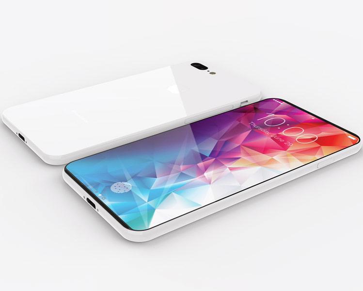 Có thể thấy mặt lưng chiếc iPhone 8 trong concept khá bóng bẩy. Nó làm ngườ ta nghĩ đến các chất liệu như gốm hoặc kính.