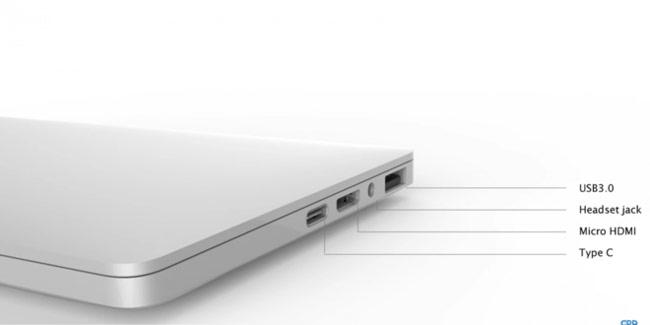 GPD Pocket được trang bị cổng USB Type-C, Micro HDMI, giắc cắm tai nghe và cổng USB 3.0
