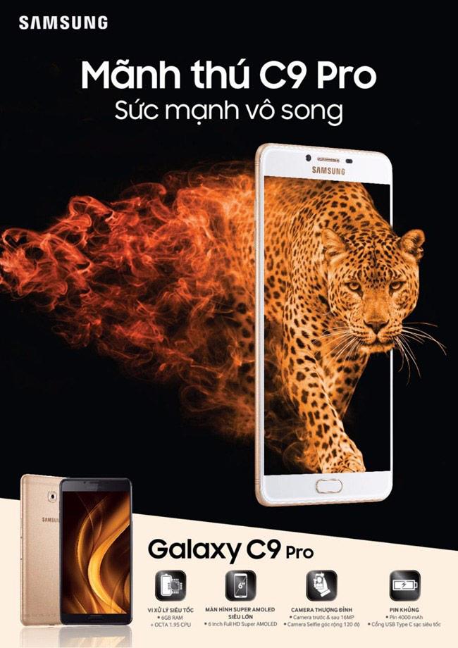 Smartphone 'mãnh thú' Galaxy C9 Pro chính thức lên kệ