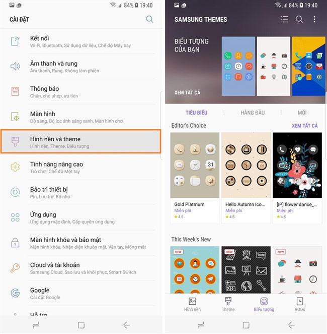 Thay đổi giao diện trên Galaxy S8