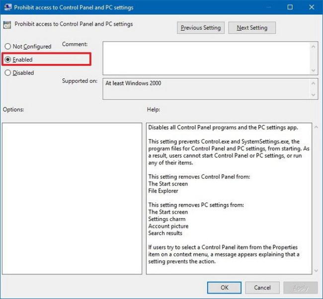 Chặn truy cập Settings và Control Panel bằng Group Policy