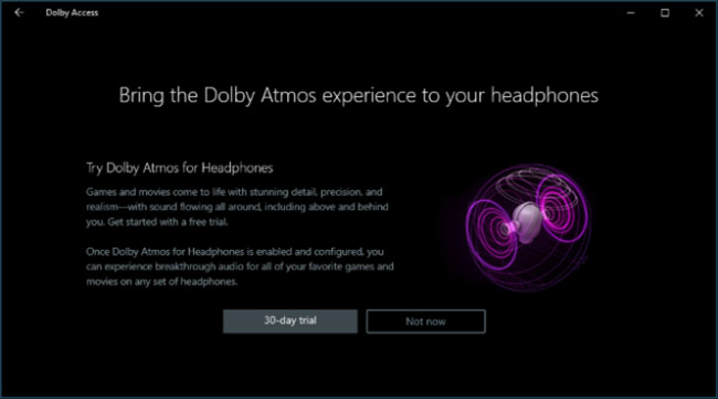 Dolby Access cho phép sử dụng thử miễn phí trong 30 ngày