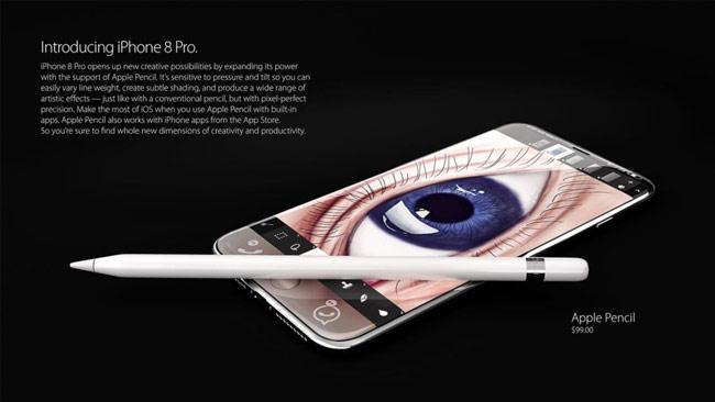 Mẫu iPhone 8 Pro mới được hé lộ có hỗ trợ loại Apple Pencil
