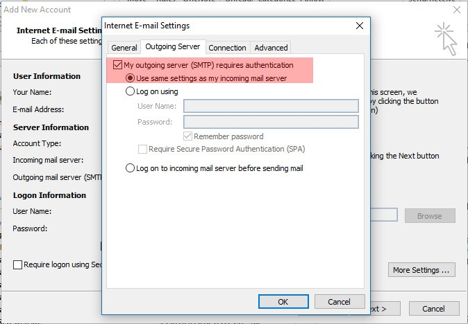 My outgoing server (SMTP) requires authentication