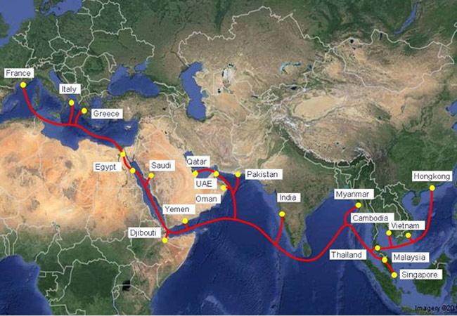 Sơ đồ hệ thống cáp biển AAE-1