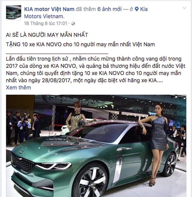 thông tin lừa đảo Kia Motors Việt Nam tặng xe miễn phí