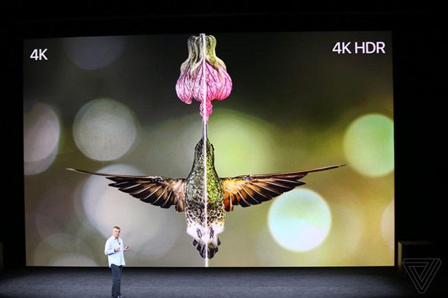 Eddy Cue giới thiệu Apple mới với nội dung 4K HDR. Thiết bị này trang bị chip A10X, phiên bản tvOS mới với nội dung 4K nhưng giá ngang bằng nội dung HD.