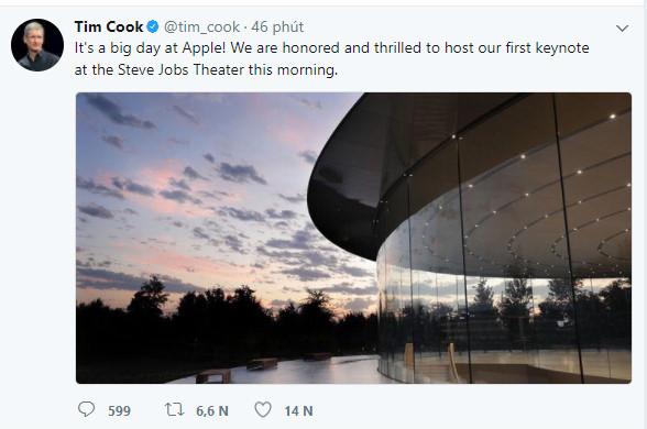 CEO Tim Cook háo hức trước sự kiện