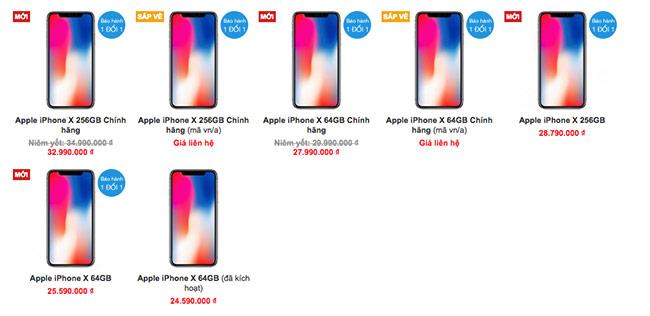 Vì sao iPhone X chính hãng giá chênh lệch đến 3 triệu đồng?