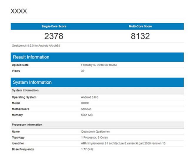 Galaxy S9 lộ cấu hình trên website đo hiệu năng