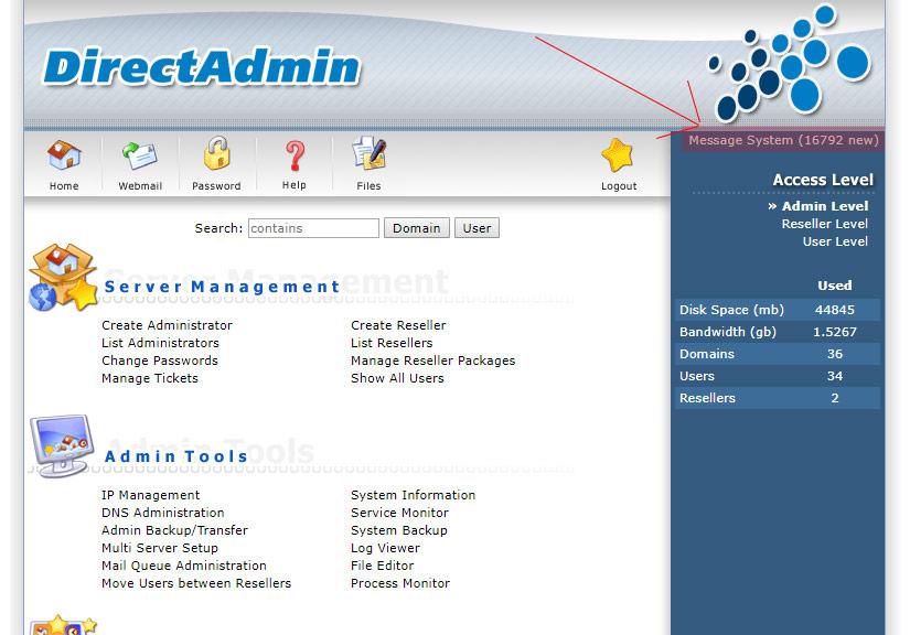 Xóa tất cả Ticket Message system trên Directadmin