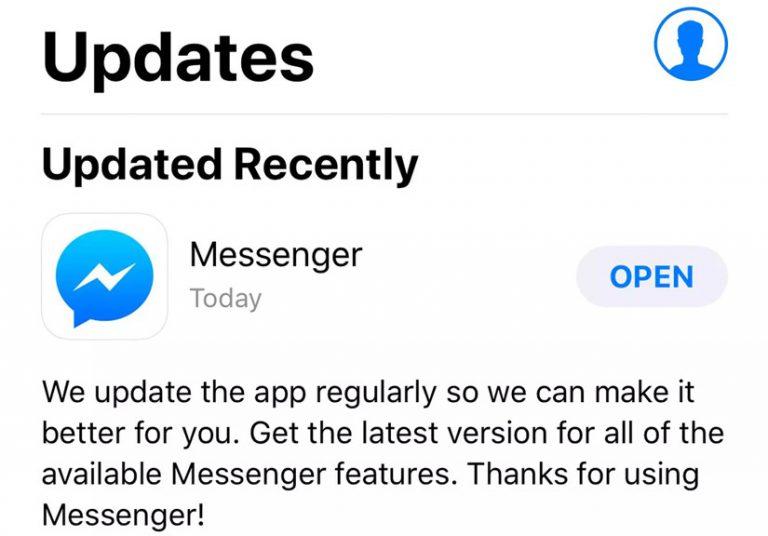 Đã có bản vá lỗi Facebook Messenger bị văng bất ngờ trên iOS